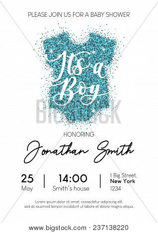 Boy Baby Shower Invitation Card With Blue Glittered Baby Clothing. It's A Boy Calligraphy Inscriptio