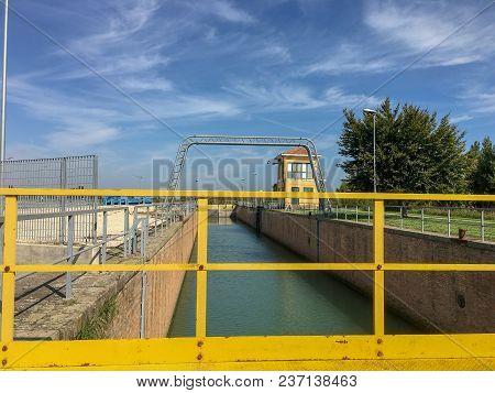 A Ship Sluice In Venice At Summer