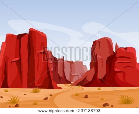 Vector Illustration Of Wild West Texas Desert Landscape With Dry Grass And Red Color Mountains Of Ca