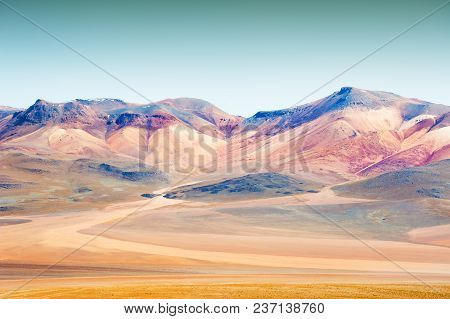 Mountains In The Desert On The Plateau Altiplano, Bolivia