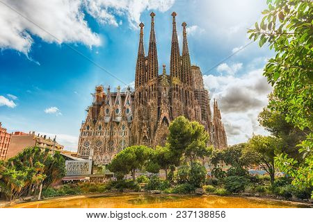 Barcelona - August 9: View Of The Sagrada Familia, Iconic Landmark In Barcelona, Catalonia, Spain, O
