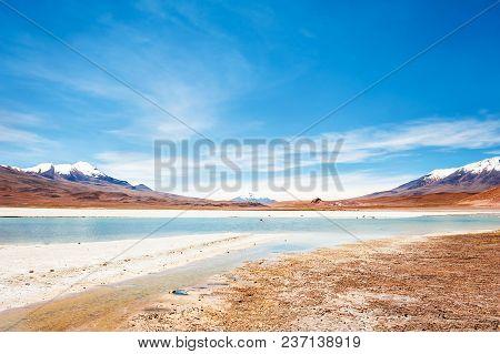 High-altitude Lagoon And Volcanos On Plateau Altiplano, Bolivia