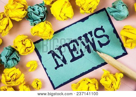 Text Sign Showing News. Conceptual Photo Report Of Recent Events Previously Unknown Information Medi