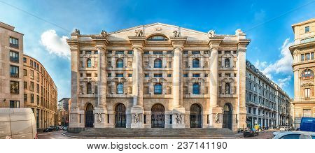 Facade Of Palazzo Mezzanotte, Stock Exchange Building In Milan, Italy