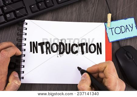 Handwriting Text Introduction. Concept Meaning First Part Of A Document Formal Presentation To An Au