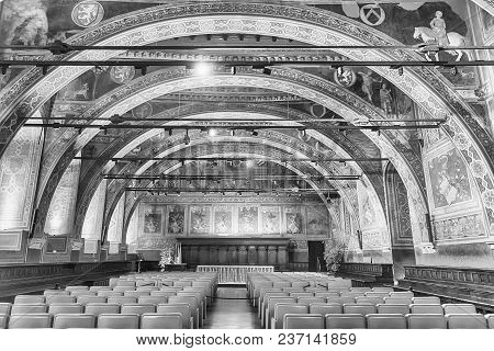 Perugia, Italy - January 12: Interiors Of Sala Dei Notari, Former Council Chamber Inside Palazzo Dei