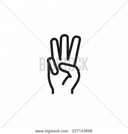 Three Fingers Up Line Icon. Palm, Arm, Hand. Gesturing Concept. Can Be Used For Topics Like Gesturin