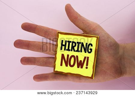 Handwriting Text Writing Hiring Now Motivational Call. Concept Meaning Workforce Wanted New Employee