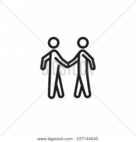 Line Icon Of Two People Shaking Hands Icon. Agreement, Meeting, Respect. Partnership Concept. For To