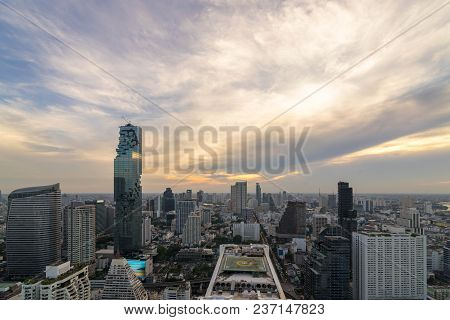 Beautiful Sunset  Of The Metropolitan Bangkok City Downtown Cityscape Urban Skyline  Thailand In Dec