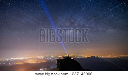 Panorama Night Landscape Mountain And Milky Way  Galaxy Background And Man Traveller Tourism  Standi