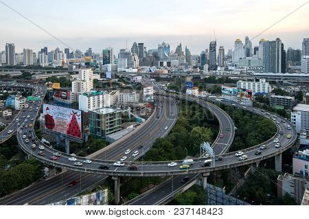 The Metropolitan Bangkok City Downtown Cityscape Urban Skyline  Thailand In December 2017 - Cityscap