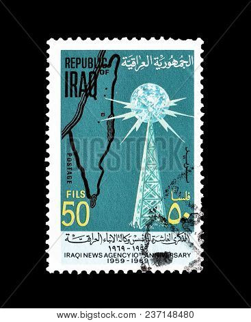 Iraq - Circa 1969 : Cancelled Postage Stamp, Printed By Iraq, That Shows Radio Tower And Map Of Pale