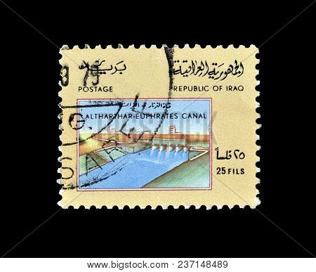Iraq - Circa 1975 : Cancelled Postage Stamp, Printed By Iraq, That Shows Altharthar Euphrates Canal.