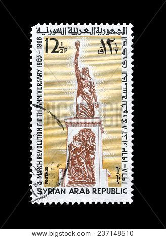 Syria - Circa 1968 : Cancelled Postage Stamp Printed By Syria, That Shows Arab Revolution Monument.