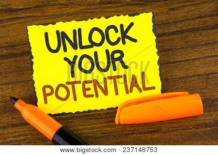 Conceptual Hand Writing Showing Unlock Your Potential. Business Photo Showcasing Reveal Talent Devel