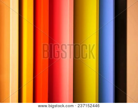 Full Frame Background Of Vibrant Colored Wooden Boards