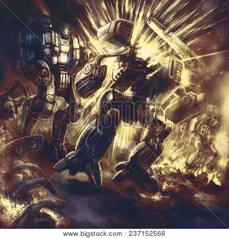The Huge Combat Robot Explodes. Science Fiction Clip Art. Original Sci-fi Iron Character Concept.