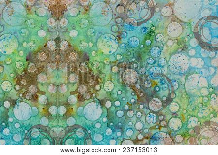 Background In The Technique Of Scrapbooking In Multi Color Tones With A Pattern Of Bubbles. Abstract