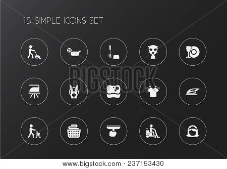 Set Of 15 Editable Cleaning Icons. Includes Symbols Such As Laundry Pin, Toilet Brush, Laundry Baske