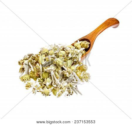 Lemon Grass On The Wooden Spoon. High Resolution Photo.