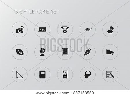 Set Of 15 Editable Education Icons. Includes Symbols Such As Notebook, Brain, Ink Pen And More. Can
