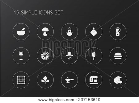 Set Of 15 Editable Cooking Icons. Includes Symbols Such As Pork, Mezzaluna Knife, Ventilation And Mo