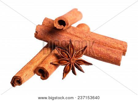 Star Anise And Cinnamon Beer Ingredients. High Resolution Photo.