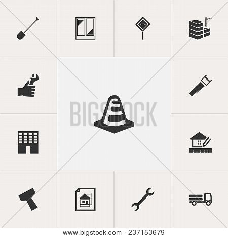 Set Of 13 Editable Construction Icons. Includes Symbols Such As Building, Warning Cone, Bogie And Mo