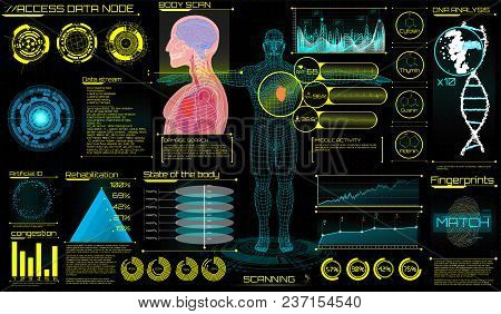 Head Up Display (hud) Ui For Medical App. Ultrasound And Cardiogram. Futuristic Medical Interface, V
