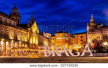 Braga, Portugal - April 20, 2018 : Early Evening In The European City Of Sport 2018 Braga, Portugal