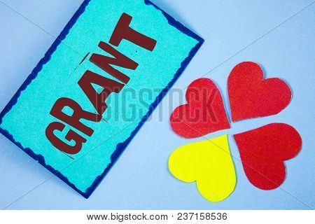 Text Sign Showing Grant. Conceptual Photo Money Given By An Organization Or Government For A Purpose