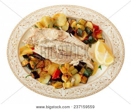 Fish fillet baked with vegetables, Italian dish in traditional plate isolated on white background