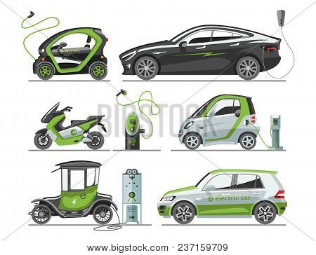 Electric Car With Solar Panels Eco Transport Vector Illustration Automobile Socket Electrical Car Ba