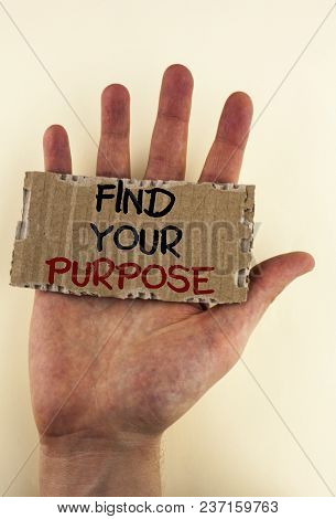Writing Note Showing  Find Your Purpose. Business Photo Showcasing Life Goals Career Searching Educa