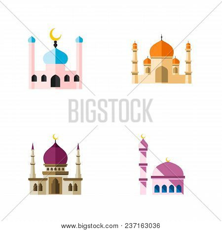 Icon Flat Building Set Of Mosque, Muslim, Traditional And Other Vector Objects. Also Includes Minare