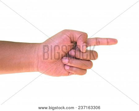 Hand Gestures, Hand Signs Of Index Finger Pointing Something, Isolated On White Background
