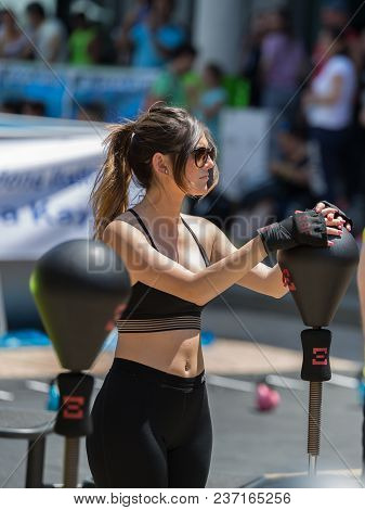 Rimini, Italy - June 2017: Fitness And Exercising Concept: Girls Workout With Speed Ball And Free St