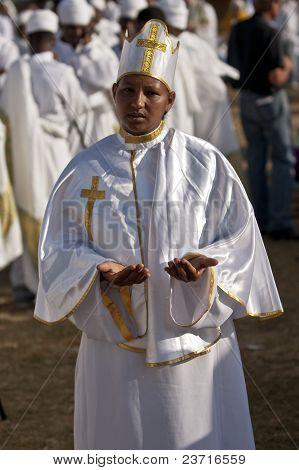 Christian Orthodox Devotee praying At The Timket Festival.