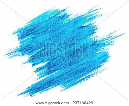 Blue Watercolor Texture Paint Stain Brush Stroke Isolated On White Background.