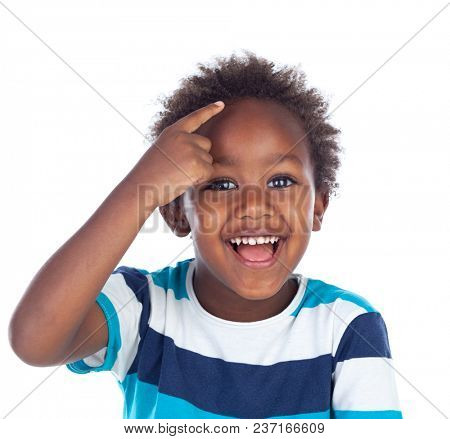 Adorable afroamerican child thinking isolated on a white background