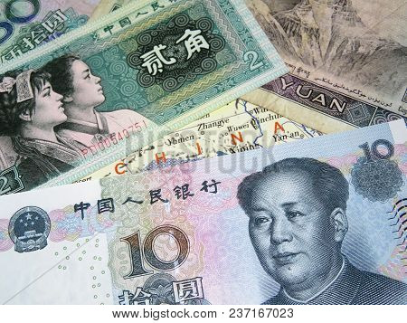 Yuan And Jiao Bills On The Map Of China. Chinese Economy