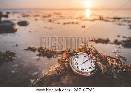 Antique Pocket Watch On A Rock By The Sea Covered With Seaweed In The Sunrise
