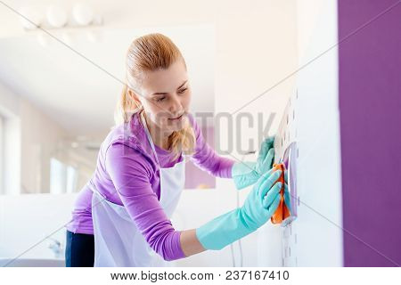 Woman In White Apron Cleaning Toilet Push Button