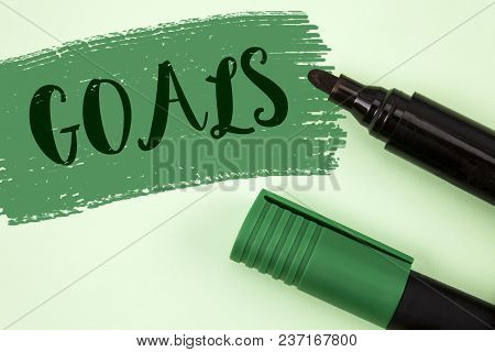 Text Sign Showing Goals. Conceptual Photo Desired Achievements Targets What You Want To Accomplish I