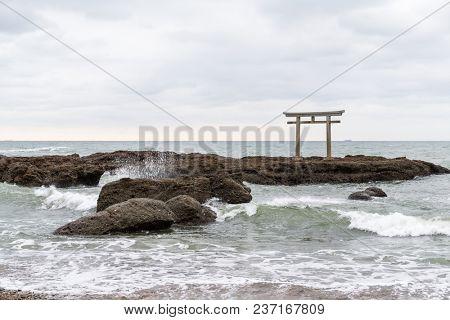 Oarai isosaki shrine Torii in the sea