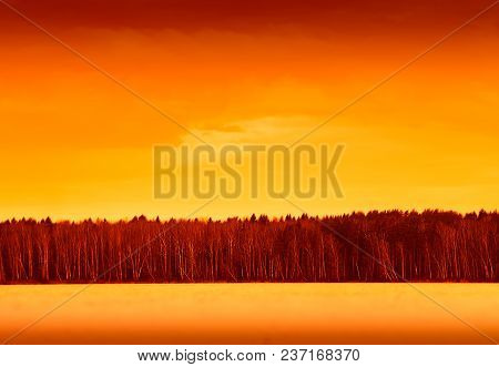 Sunset Forest On River Horizon Background Hd