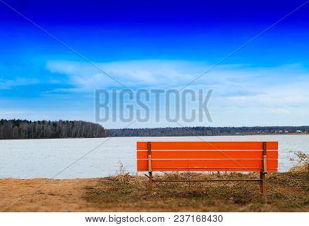 Orange Bench On River Beach Horizon Background Hd