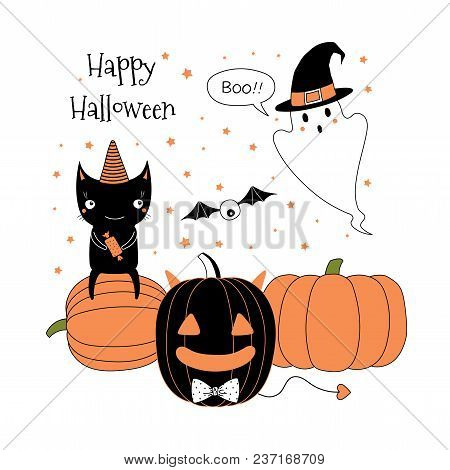 15aecba3 Hand drawn vector illustration of jack o lantern, cute funny ghost in a witch  hat, black cat sitting on a pumpkin, text Happy Halloween.