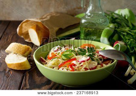 Healthy Vegetarian Bowl. Summer Vegetarian Vitamin Salad With Fresh Vegetables. The Concept Of Healt